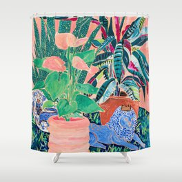 Jungle of House Plants Blush Still Life Painting with Blue Lion Figurine Shower Curtain