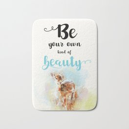 """Beautiful Watercolor """" Be Your Own Kind of Beauty """" Motivational Quote Print Bath Mat"""