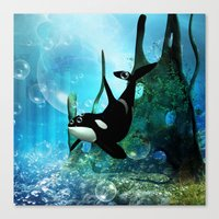 orca Canvas Prints featuring Orca by nicky2342