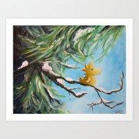 woodstock Art Prints featuring Winter Woodstock by artmonkeyworld