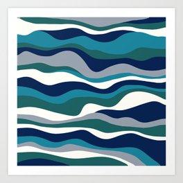Cordillera Stripe: Teal Navy Combo Art Print