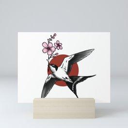 Sparrow with Cherry Blossom Mini Art Print