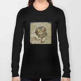 VINTAGE KITTEN DRAWING PRINT Long Sleeve T-shirt