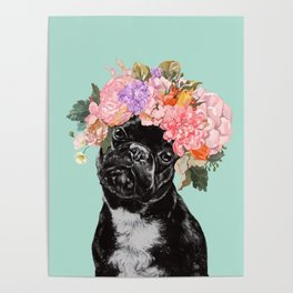 French Bulldog with Flowers Crown in Green Poster