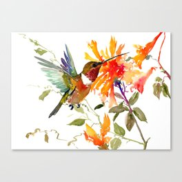 Hummingbird and Orange Floral Design, tropical Hawaiian Colors Canvas Print