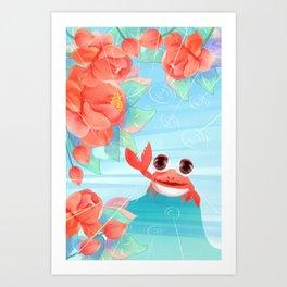 Summer Cute Crab Draw Art Print
