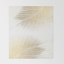 Palm leaf synchronicity - gold Throw Blanket