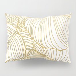 Wilderness Gold, Tropical Leaves Nature Line Art, Botanical Golden Minimal Graphic Drawing Pillow Sham