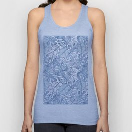 Hand painted pink blue watercolor tropical leaves floral Unisex Tank Top