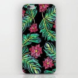 black tropical watercolor floral iPhone Skin