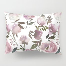 Modern hand painted ivory purple pink watercolor roses Pillow Sham