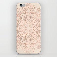 Mandala Rose Gold Pink Shimmer on Light Cream iPhone Skin