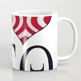 Red and white striped I love DST Design Coffee Mug