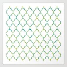 Green, Yellow & Turquoise Lantern Arabesque Pattern Art Print