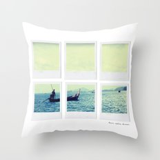 Polaroid Collage 'Longtail Boat' Throw Pillow
