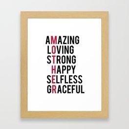 MOTHERS DAY, Mother's Day svg, Mom Shirt Design, Mom Mug, Mom Birthday Gift, Definition Of Mother, M Framed Art Print
