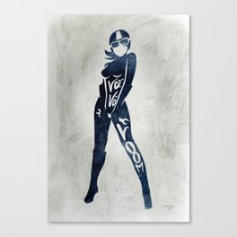 "Va-Va-Voom ""Elsa"" Motorcycle Pin Up Girl Canvas Print"