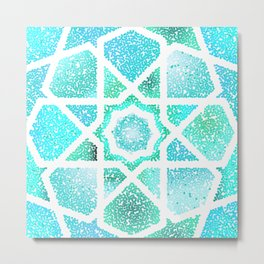 Turquoise blue shiny glitter arabesque Metal Print