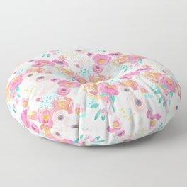 Indy Bloom Design Blush White Florals Floor Pillow