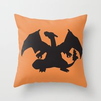 charizard Throw Pillows featuring Charizard Silhouette by Jessica Wray