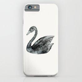Elegant black white hand painted watercolor swan iPhone Case