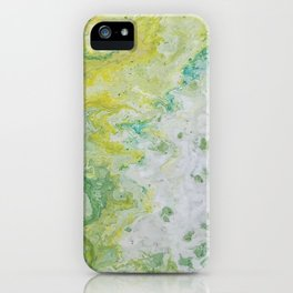 Lime Green Aqua Yellow Textured Abstract iPhone Case
