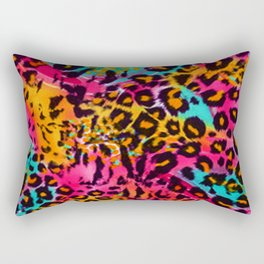 Leopard Animal Print in Rainbow Colour Rectangular Pillow