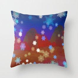 Mountains and Snowflakes Throw Pillow