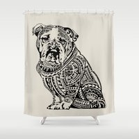 english bulldog Shower Curtains featuring Polynesian English Bulldog by Huebucket
