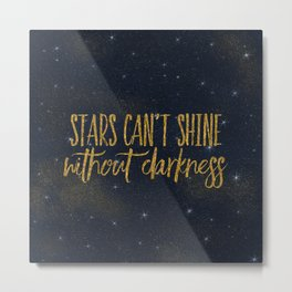 Stars- Darkness - sparkling gold glitter effect night typography on #Society6 Metal Print