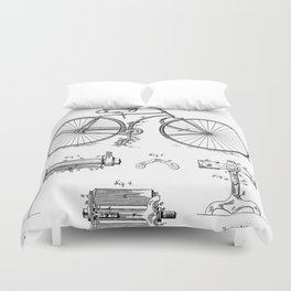 Bicycle Patent - Cyclling Art - Black And White Duvet Cover