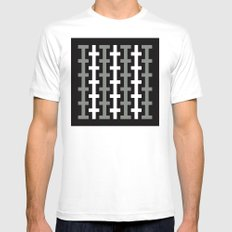 Black & White stripe pattern White MEDIUM Mens Fitted Tee