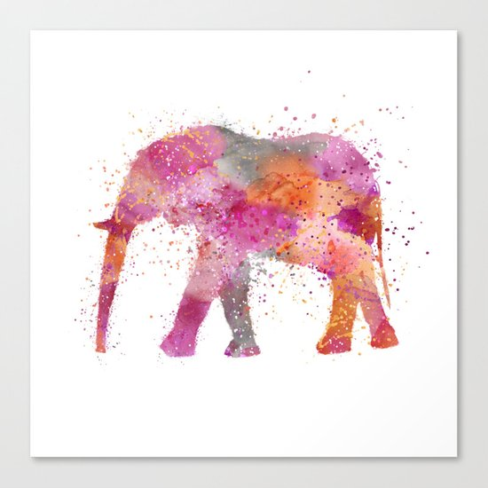 Artsy watercolor Elephant bright orange pink colors Canvas Print