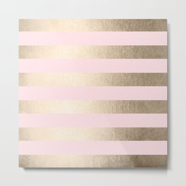 Simply Striped in White Gold Sands and Flamingo Pink Metal Print