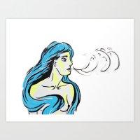Blow Girl Art Print