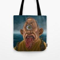 cyclops Tote Bags featuring Cyclops by Jim Agpalza
