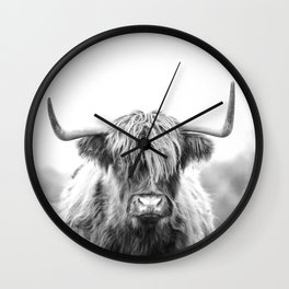 Highland Cow Longhorn in a Field Black and White Wall Clock