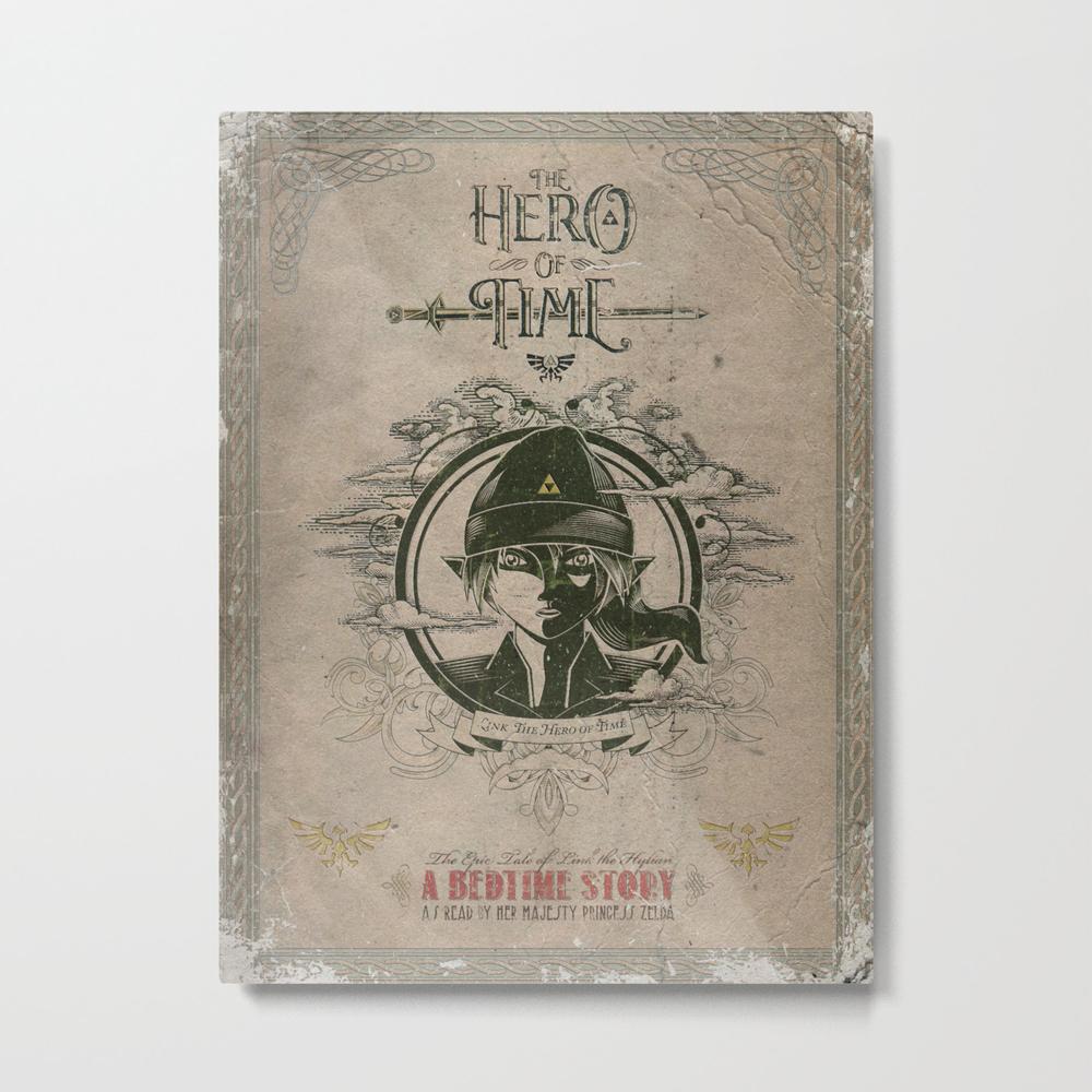 Legend Of Zelda Link The Hero Of Time Vintage Book… Metal Print by Jollyappleskull MTP822124