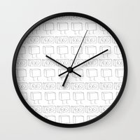 robots Wall Clocks featuring Robots by The Ghost and Robot