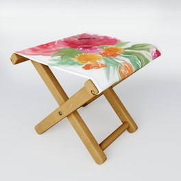 Floral Watercolor Bouquet Folding Stool