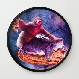 Trippy Space Sloth Turtle - Sloth Pizza Wall Clock
