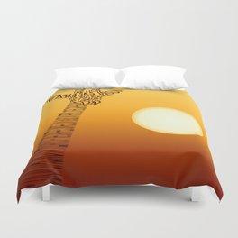 Giraffe and sun Duvet Cover