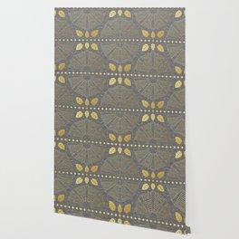 Gold Outline Art Deco Fan Wallpaper