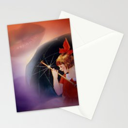 the girl and the umbrella Stationery Cards