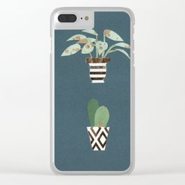 Paper Plants in Vases Clear iPhone Case