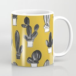 Mustard yellow black gray hand painted cactus illustration Coffee Mug