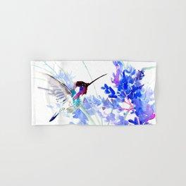 Flying Hummingbird and Blue Flowers Hand & Bath Towel