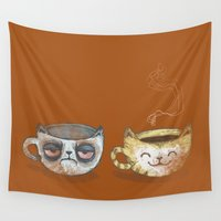 cup Wall Tapestries featuring Grumpy Cup, Happy Cup by Ma. Luisa Gonzaga