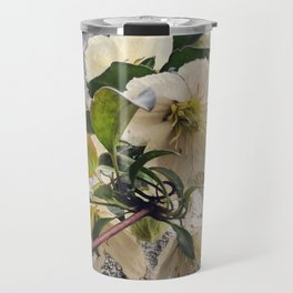 Beautiful White Clematis Flowers Hanging Over a Fence Travel Mug