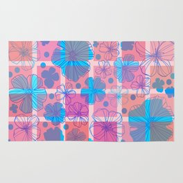 Drawing flowers in cubes Rug